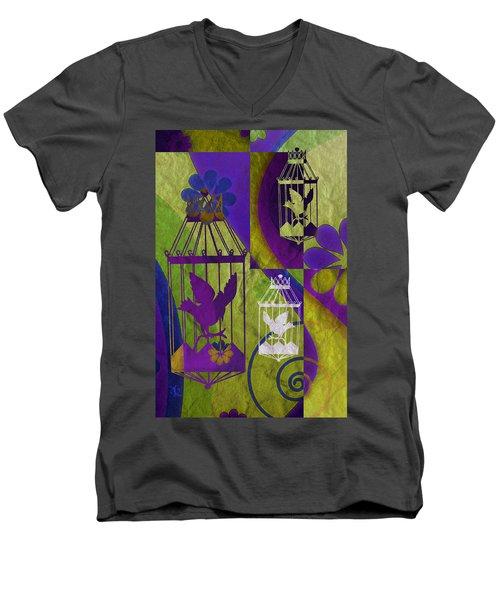 3 Caged Birds Men's V-Neck T-Shirt