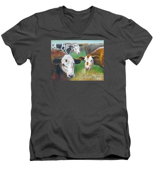 3 Cows Men's V-Neck T-Shirt by Oz Freedgood