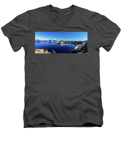Men's V-Neck T-Shirt featuring the photograph Crater Lake by Jonny D