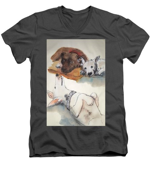 Dogs Dogs  Dogs Album Men's V-Neck T-Shirt by Debbi Saccomanno Chan