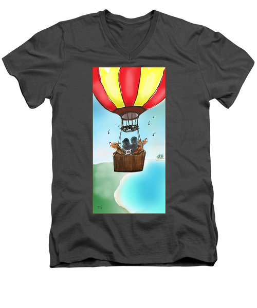 3 Dogs Singing In A Hot Air Balloon Men's V-Neck T-Shirt