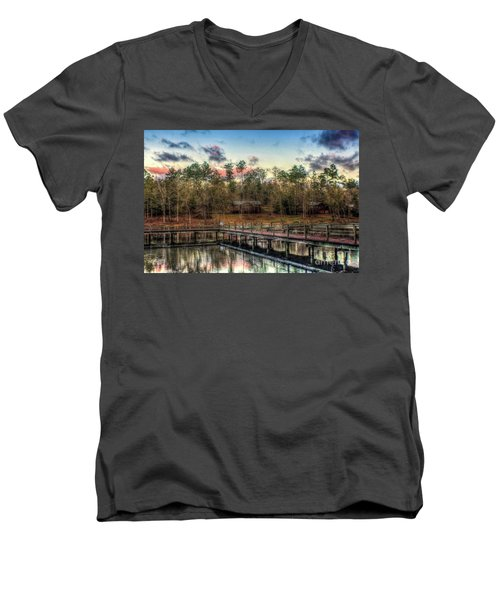 Men's V-Neck T-Shirt featuring the photograph Flint Creek by Maddalena McDonald