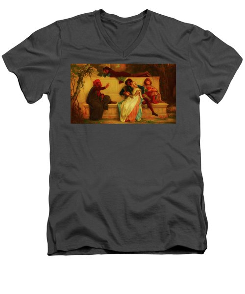 Men's V-Neck T-Shirt featuring the painting Florentine Poet by Alexandre Cabanel