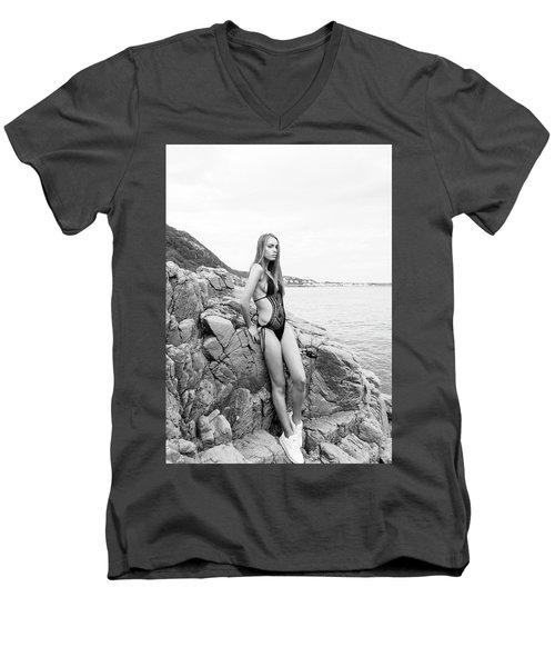 Girl In Black Swimsuit Men's V-Neck T-Shirt