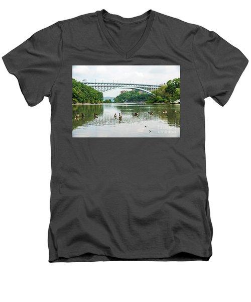 Henry Hudson Bridge Men's V-Neck T-Shirt
