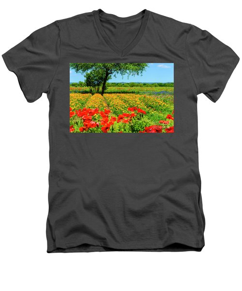 Hill Country In Bloom Men's V-Neck T-Shirt
