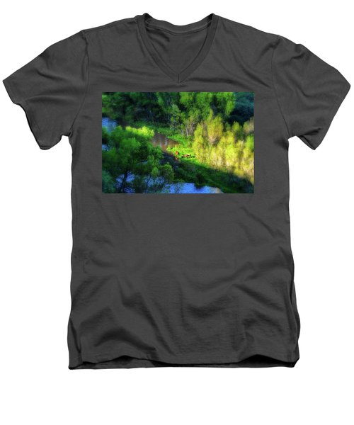 3 Horses Grazing On The Bank Of The Verde River Men's V-Neck T-Shirt