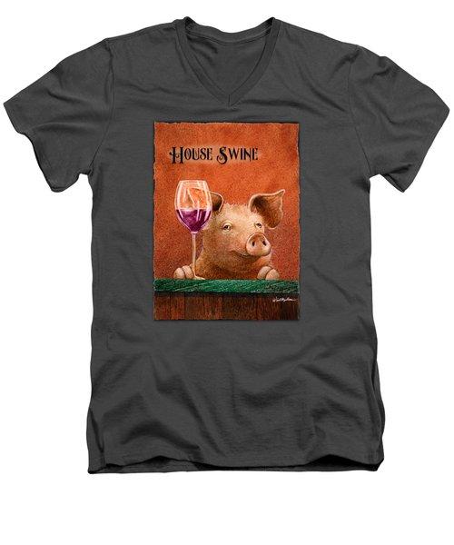 House Swine... Men's V-Neck T-Shirt by Will Bullas
