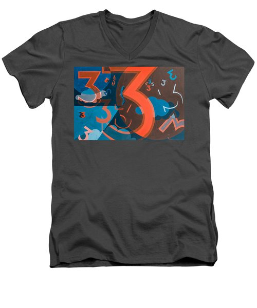 3 In Blue And Orange Men's V-Neck T-Shirt