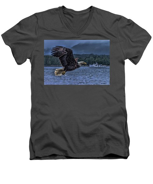 Men's V-Neck T-Shirt featuring the digital art In Flight. by Timothy Latta