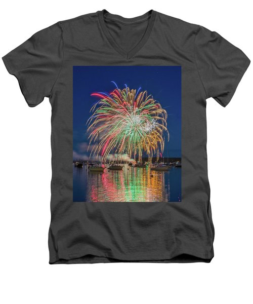 Independence Day Fireworks In Boothbay Harbor Men's V-Neck T-Shirt