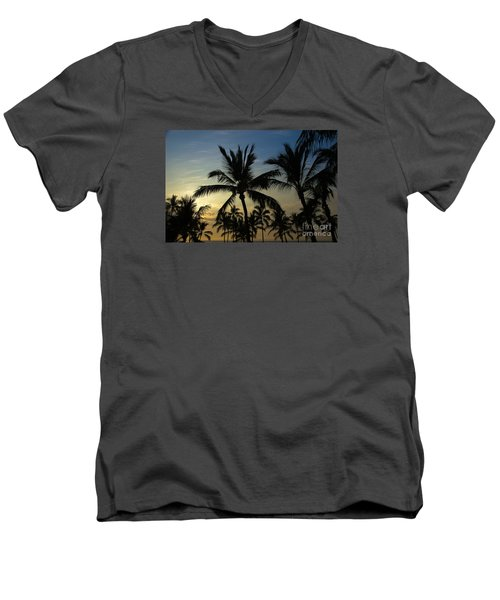 Kona Sunset Men's V-Neck T-Shirt by Kelly Wade