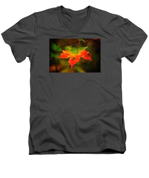 Maple Leaf Men's V-Neck T-Shirt by Andre Faubert