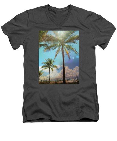 Miami Palm Trees,  Men's V-Neck T-Shirt by France Laliberte