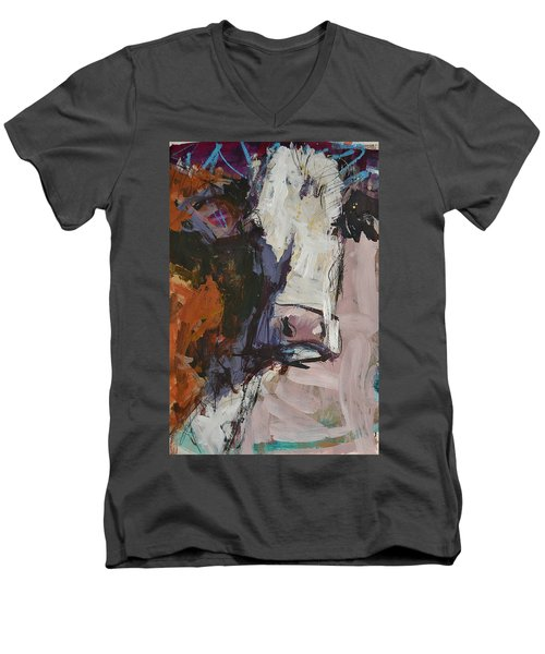 Modern Abstract Cow Painting Men's V-Neck T-Shirt