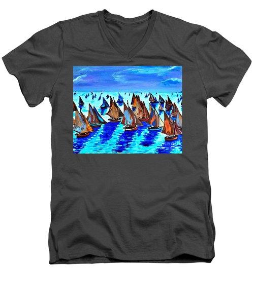 Monet Fishing Boats Calm Seas Men's V-Neck T-Shirt by Scott D Van Osdol