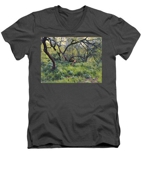 Morning Walk Trees Men's V-Neck T-Shirt