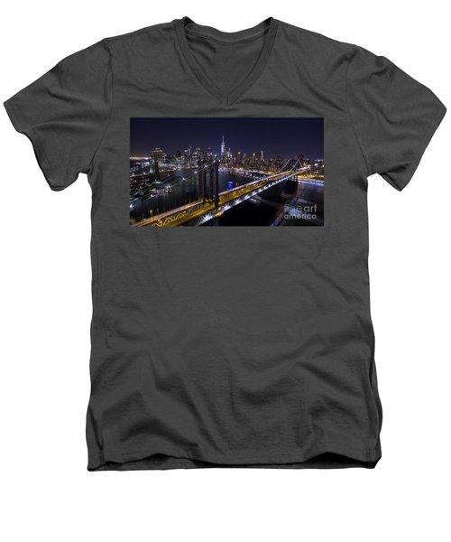 New York City, Manhattan Bridge At Night Men's V-Neck T-Shirt