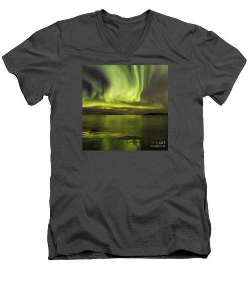 Northern Lights Reykjavik Men's V-Neck T-Shirt by Gunnar Orn Arnason