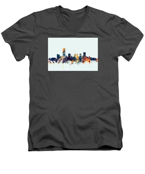 Oklahoma City Skyline Men's V-Neck T-Shirt by Michael Tompsett
