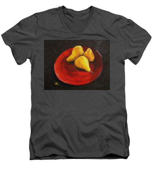 3 Pears In Red Bowl Men's V-Neck T-Shirt