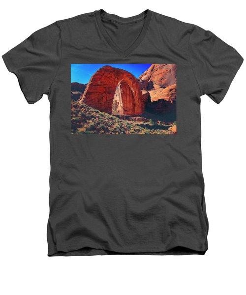 Men's V-Neck T-Shirt featuring the photograph Rainbow Bridge Monument by Peter Lakomy