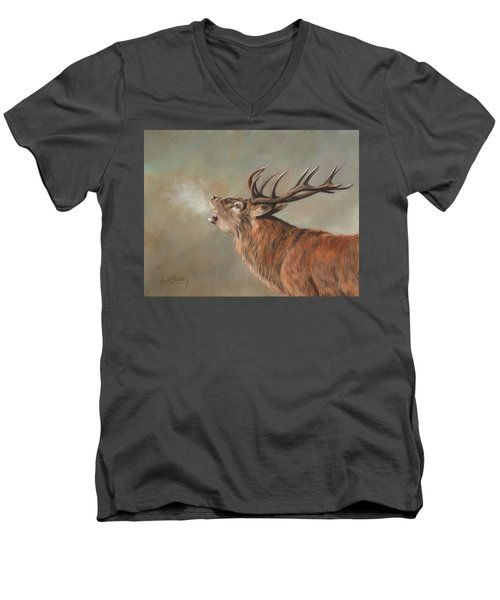 Men's V-Neck T-Shirt featuring the painting Red Deer Stag by David Stribbling