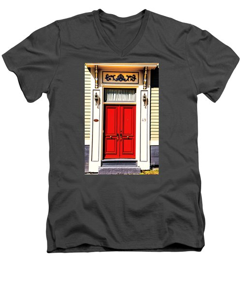Men's V-Neck T-Shirt featuring the photograph Red Door by Rick Bragan