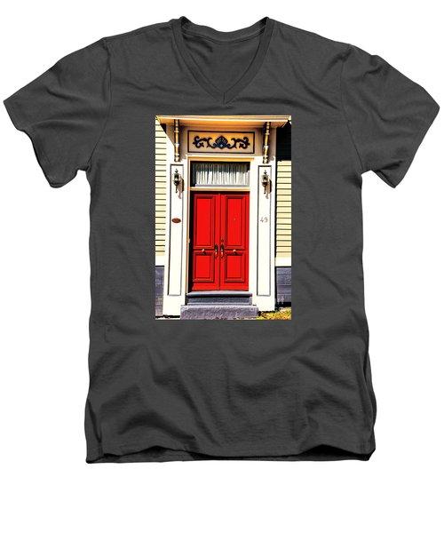 Red Door Men's V-Neck T-Shirt by Rick Bragan