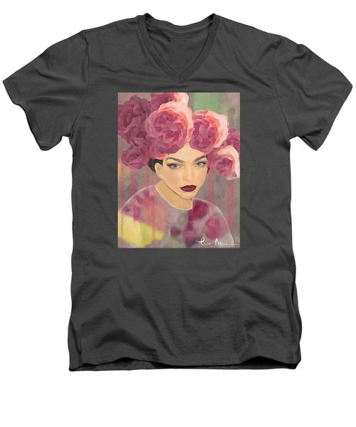 Men's V-Neck T-Shirt featuring the digital art Rose by Lisa Noneman