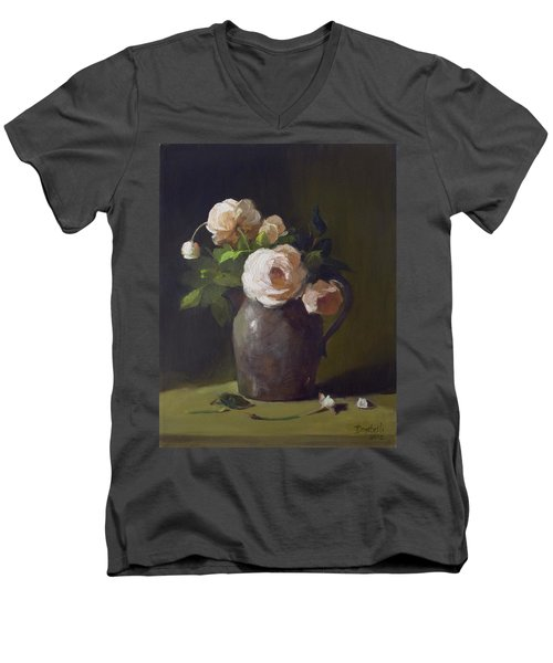 3 Roses In Silver Pitcher Men's V-Neck T-Shirt
