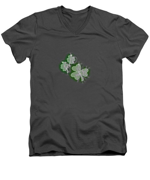 3 Shamrocks Men's V-Neck T-Shirt by Judy Hall-Folde