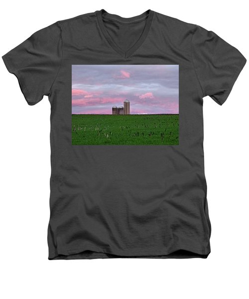 Men's V-Neck T-Shirt featuring the photograph 3 Silos by Robert Geary