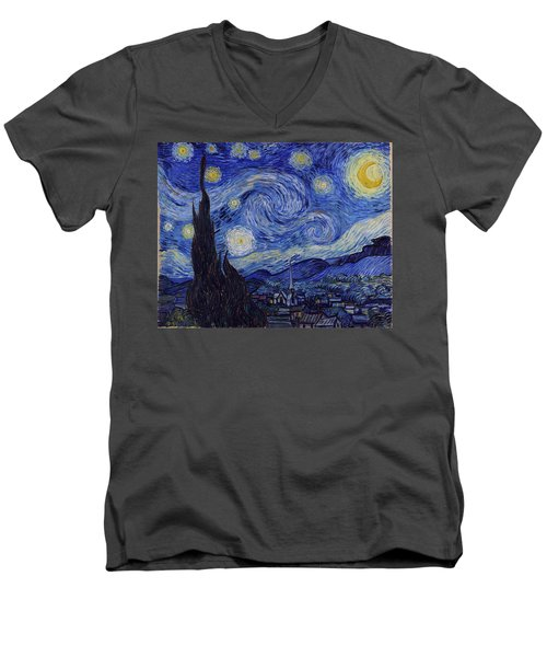 Men's V-Neck T-Shirt featuring the painting Starry Night by Van Gogh