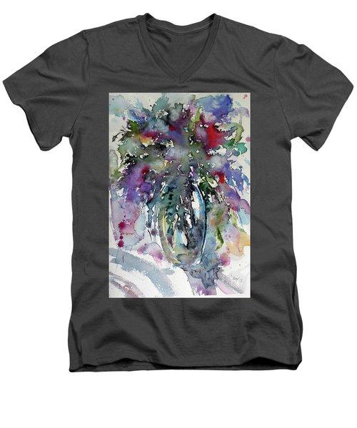 Men's V-Neck T-Shirt featuring the painting Still Life by Kovacs Anna Brigitta