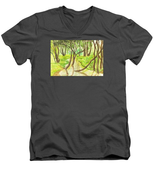 Summer Landscape, Painting Men's V-Neck T-Shirt by Irina Afonskaya