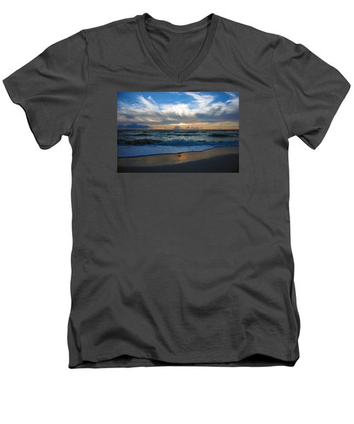 Men's V-Neck T-Shirt featuring the photograph Sunset At Delnor-wiggins Pass State Park by Robb Stan