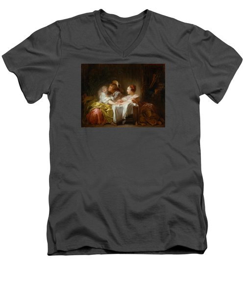 Men's V-Neck T-Shirt featuring the painting The Stolen Kiss by Jean-Honore Fragonard