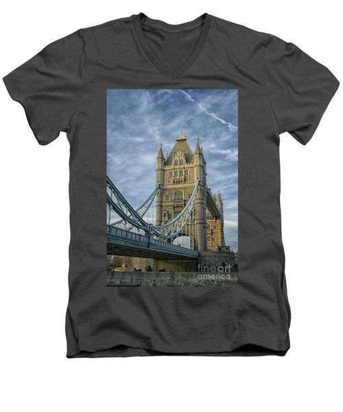 Tower Bridge London Men's V-Neck T-Shirt by Patricia Hofmeester