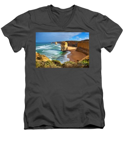 Twelve Apostles Great Ocean Road Men's V-Neck T-Shirt by Bill  Robinson