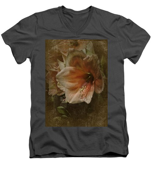 Men's V-Neck T-Shirt featuring the photograph Vintage Amaryllis by Richard Cummings
