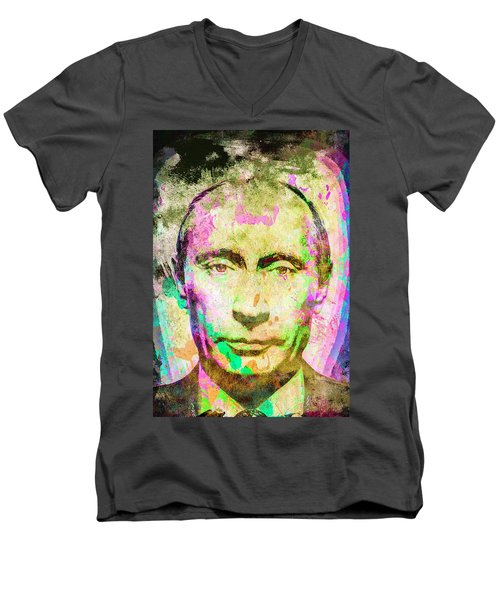 Men's V-Neck T-Shirt featuring the mixed media Vladimir Putin by Svelby Art