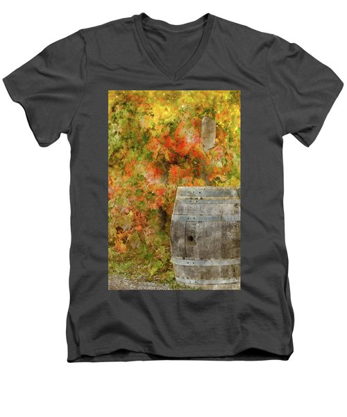 Wine Barrel In Autumn Men's V-Neck T-Shirt