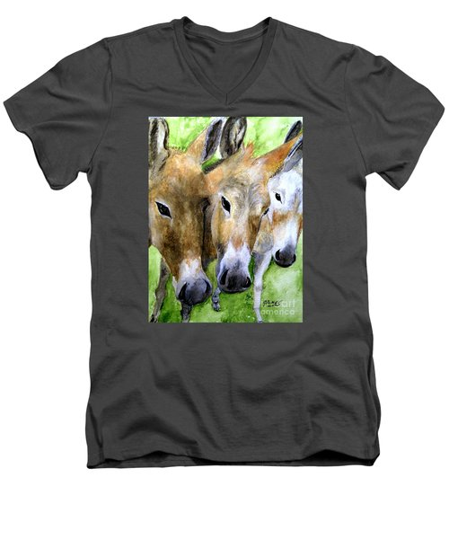 3 Wise Mules Men's V-Neck T-Shirt by Carol Grimes