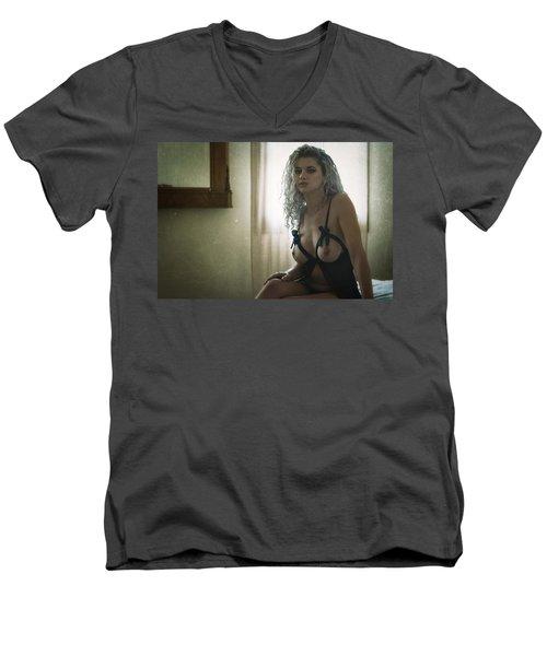 Men's V-Neck T-Shirt featuring the photograph Tu M'as Promis by Traven Milovich