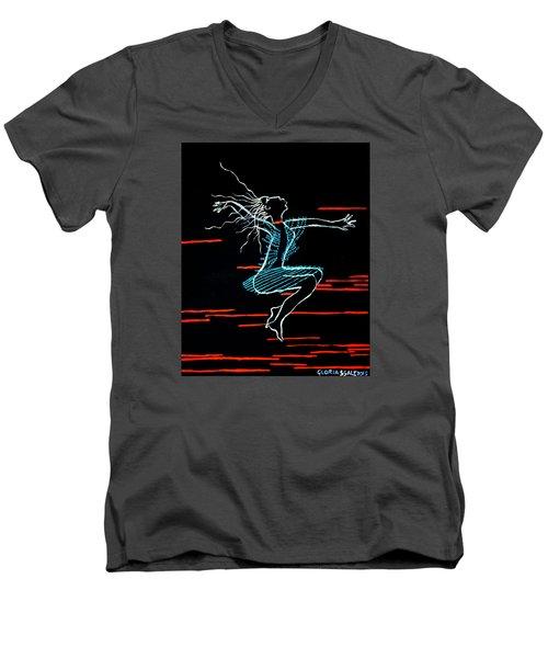 Dinka Dance - South Sudan Men's V-Neck T-Shirt by Gloria Ssali