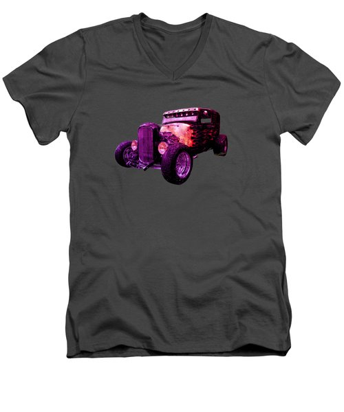 31 Ford Model A Fiery Hot Rod Classic Men's V-Neck T-Shirt