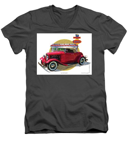 Men's V-Neck T-Shirt featuring the drawing 32 Red Roadster by Kenneth De Tore