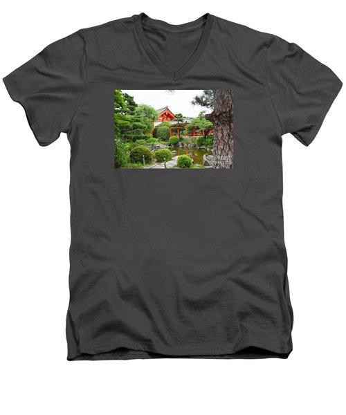 Men's V-Neck T-Shirt featuring the digital art 33 Sanjusangendo 1 by Eva Kaufman