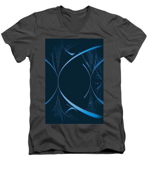 35 In Blue Men's V-Neck T-Shirt